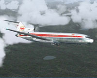 Screenshot of Flight 1 TWA Boeing 727-200 in flight.