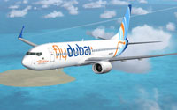 Screenshot of Flydubai Boeing 737-8K2 (WL) in flight.