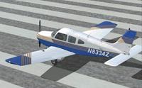 Screenshot of Flying Club X Piper Warrior on runway.