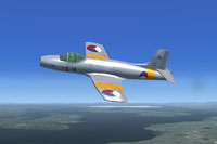 Screenshot of Fokker S-14 Mach-Trainer in airshow livery.