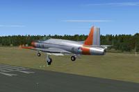 Screenshot of Fokker S-14 Mach-Trainer L-11 landing on runway.