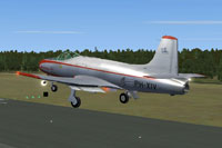 Screenshot of Fokker S-14 Mach-Trainer landing on runway.