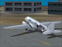 Screenshot of Four Star DC-3 Cargo on the ground.