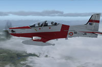 Screenshot of French Air Force Pilatus PC-21 in flight.