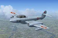 Screenshot of French Gloster Meteor T7 in flight.