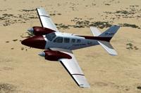 Screenshot of Beechcraft Baron 58 in flight.