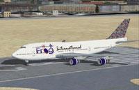 Screenshot of Frog international Boeing 747-400 on runway.