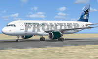 Screenshot of Frontier Airlines A320-214 on runway.