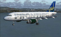 Screenshot of Frontier Airlines Airbus A319 in flight.