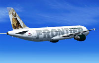 Screenshot of Frontier Airlines Airbus A320-214 in flight.