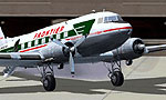 Screenshot of Frontier Airlines Douglas DC-3 on the ground.
