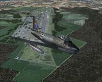 Screenshot of GAF F-86 Sabre in flight.