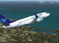 Screenshot of Garuda Boeing 737-700 in flight.
