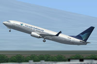 Screenshot of Garuda Indonesia Boeing 737-800 taking off.