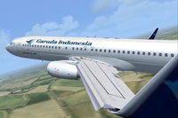 Screenshot of Garuda Indonesia Boeing 737-800 PK-GEQ in flight.