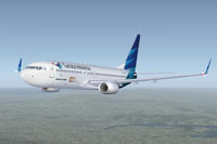 Screenshot of Garuda Indonesia Boeing 737-800 in flight.
