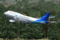 Screenshot of Garuda Indonesia Boeing 747-400X taking off.