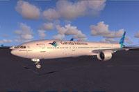Screenshot of Garuda Indonesia Boeing 777-300ER on the ground.