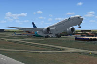 Screenshot of Garuda Indonesia Boeing 777-300ER taking off.