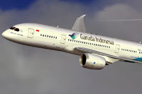 Screenshot of Garuda Indonesia Boeing 787-800 in flight.