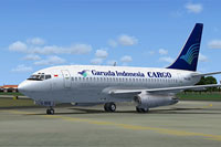Screenshot of Garuda Indonesia Cargo Boeing 737-200C on the ground.