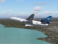 Screenshot of Garuda McDonnell Douglas DC-10 in flight.