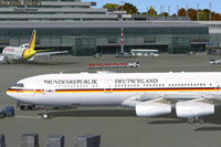Screenshot of German Air Force Airbus A340-313X on the ground.
