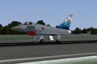 Screenshot of German Air Force Eurofighter Typhoon on runway.