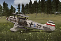 Screenshot of German Air Force Heinkel He 51 on the ground.