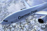 Screenshot of German Cargo Service Boeing 777-FBT in the air.