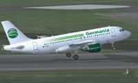Screenshot of Germania Airbus A319-112 taking off.