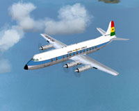 Screenshot of Ghana Airways Viscount 838 in flight.