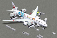 Screenshot of Japan Airlines Boeing 787-8 and ground services.