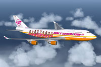 Screenshot of Girls' Generation Airlines Boeing 747-400 in flight.