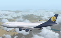 Screenshot of Global Supply Systems Boeing 747-400 in flight.