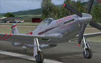 Screenshot of a chrome aircraft on ruway.