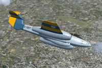 Screenshot of Gloster Meteor F4 Argentina C-027 in flight.