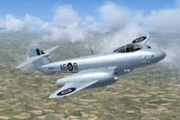Screenshot of Gloster Meteor F4 RA444 in flight.