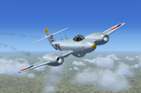 Screenshot of Gloster Meteor F4 RNLAF I-75 in flight.