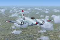 Screenshot of Gloster Meteor F4 RNLAF I-76 in flight.