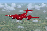 Screenshot of Gloster Meteor G-AIDC in flight.