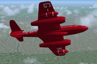 Screenshot of Gloster Meteor T7 G-AKPK in flight.