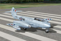 Screenshot of Gloster Meteor T7 VW440 on runway.