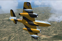Screenshot of Gloster Meteor T7 WF722 in flight.