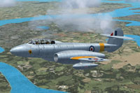 Screenshot of Gloster Meteor T7 WH209 in flight.