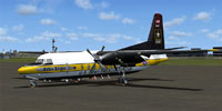 Screenshot of Golden Knights Fokker F27 parked at KMKC.