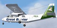 """Screenshot of Great Barrier BN-2A """"Kotare"""" in flight."""