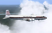 Screenshot of Great Lakes Airlines DC-6B in flight.