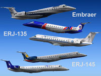 Image showing five liveries for the ERJ-135/145.
