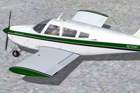 Screenshot of green and white Piper Arrow with black trim.